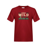 Youth Cardinal T Shirt-Iowa Wild 3 Marks Design