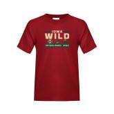 Youth Cardinal T Shirt-Iowa Wild 3 Marks Design