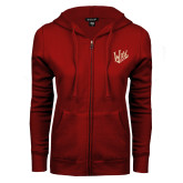 ENZA Ladies Cardinal Fleece Full Zip Hoodie-Primary Mark