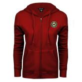 ENZA Ladies Cardinal Fleece Full Zip Hoodie-Secondary Mark