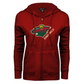 ENZA Ladies Cardinal Fleece Full Zip Hoodie-Iowa Wild w Bear Head