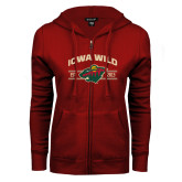 ENZA Ladies Cardinal Fleece Full Zip Hoodie-Iowa Wild Arched