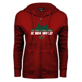 ENZA Ladies Cardinal Fleece Full Zip Hoodie-Hockey Lives Here Cityscape