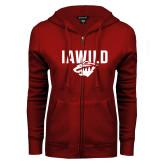 ENZA Ladies Cardinal Fleece Full Zip Hoodie-IAWILD
