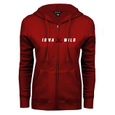 ENZA Ladies Cardinal Fleece Full Zip Hoodie-Iowa Wild Crossed Sticks