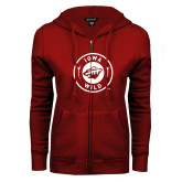 ENZA Ladies Cardinal Fleece Full Zip Hoodie-Iowa Wild Seal One Color