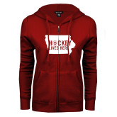 ENZA Ladies Cardinal Fleece Full Zip Hoodie-Hockey Lives Here State