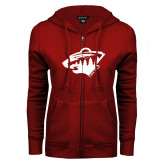 ENZA Ladies Cardinal Fleece Full Zip Hoodie-Bear Head