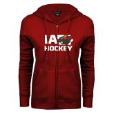 ENZA Ladies Cardinal Fleece Full Zip Hoodie-IA Hockey w State