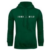 Dark Green Fleece Hood-Iowa Wild Crossed Sticks