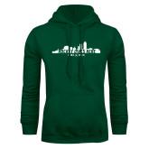 Dark Green Fleece Hood-Hockey Lives Here Cityscape Cutout