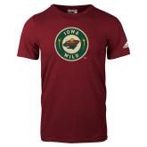 Adidas Cardinal Logo T Shirt-Iowa Wild Distressed Circle Logo