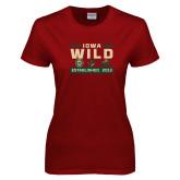 Ladies Cardinal T Shirt-Iowa Wild 3 Marks Design
