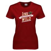 Ladies Cardinal T Shirt-Iowa Wild Banner Design