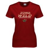 Ladies Cardinal T Shirt-Iowa Wild Lined Design