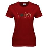 Ladies Cardinal T Shirt-IA HKY