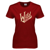 Ladies Cardinal T Shirt-Primary Mark Distressed