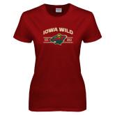 Ladies Cardinal T Shirt-Iowa Wild Arched