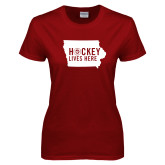 Ladies Cardinal T Shirt-Hockey Lives Here State