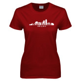 Ladies Cardinal T Shirt-Hockey Lives Here Cityscape Cutout