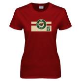 Ladies Cardinal T Shirt-Iowa Wild Block Design