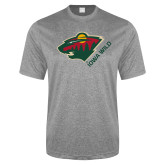 Performance Grey Heather Contender Tee-Iowa Wild w Bear Head