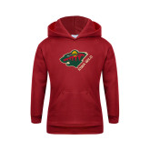 Youth Cardinal Fleece Hoodie-Iowa Wild w Bear Head