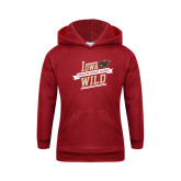 Youth Cardinal Fleece Hoodie-Iowa Wild Banner Design
