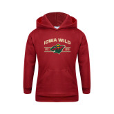 Youth Cardinal Fleece Hoodie-Iowa Wild Arched