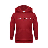 Youth Cardinal Fleece Hoodie-Iowa Wild Crossed Sticks