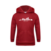 Youth Cardinal Fleece Hoodie-Hockey Lives Here Cityscape Cutout