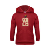 Youth Cardinal Fleece Hoodie-Iowa Wild Stacked