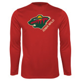 Performance Cardinal Longsleeve Shirt-Iowa Wild w Bear Head