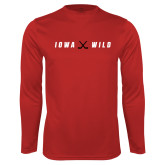 Syntrel Performance Cardinal Longsleeve Shirt-Iowa Wild Crossed Sticks