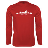 Performance Cardinal Longsleeve Shirt-Hockey Lives Here Cityscape Cutout