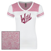 Ladies White/Bright Pink Juniors Varsity V Neck Tee-Primary Mark Hot Pink Glitter
