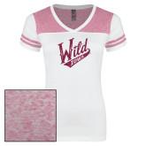 Ladies White/Bright Pink Juniors Varsity V Neck Tee-Primary Mark Hot Pink Glitter