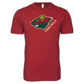 Next Level SoftStyle Cardinal T Shirt-Iowa Wild w Bear Head