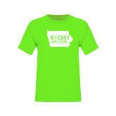 Youth Neon Green T Shirt-Hockey Lives Here State - One Color