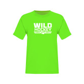 Youth Neon Green T Shirt-Wild Hockey Banner - One Color