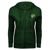 ENZA Ladies Dark Green Fleece Full Zip Hoodie-Primary Mark