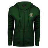 ENZA Ladies Dark Green Fleece Full Zip Hoodie-Secondary Mark