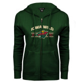 ENZA Ladies Dark Green Fleece Full Zip Hoodie-Iowa Wild Arched