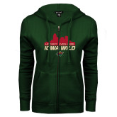 ENZA Ladies Dark Green Fleece Full Zip Hoodie-Hockey Lives Here Cityscape