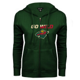 ENZA Ladies Dark Green Fleece Full Zip Hoodie-Go Wild
