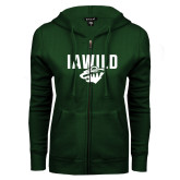 ENZA Ladies Dark Green Fleece Full Zip Hoodie-IAWILD
