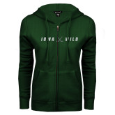 ENZA Ladies Dark Green Fleece Full Zip Hoodie-Iowa Wild Crossed Sticks