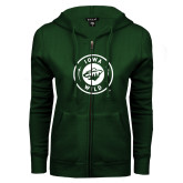 ENZA Ladies Dark Green Fleece Full Zip Hoodie-Iowa Wild Seal One Color