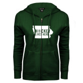 ENZA Ladies Dark Green Fleece Full Zip Hoodie-Hockey Lives Here State