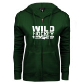 ENZA Ladies Dark Green Fleece Full Zip Hoodie-Wild Hockey
